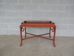 Hollywood Regency Bamboo Tray Top Coffee / Cocktail Table 32w X 19d
