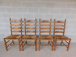 L Hitchcock Harvest Stenciled Ladder Back Rush Bottom Chairs - Set Of 4