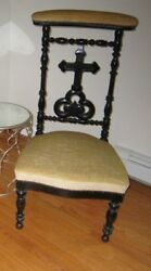Antique C 1880and039s Victorian Prie-dieu Catholic Religious Prayer Chair Steampunk