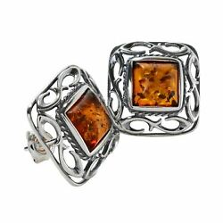 Sterling Silver and Baltic Honey Amber Stud Earrings quot;Ruthquot; $28.40