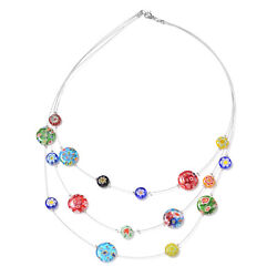 Murano Millefiori Glass Stainless Steel Round Glass Station Necklace 18