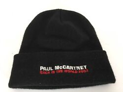 Paul Mccartney The Beatles Back In The World 2003 Beanie Hat Black Red Acrylic