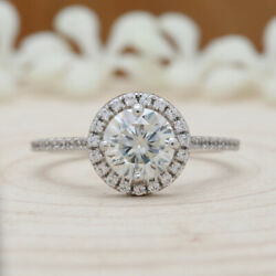 8mm Round White Moissanite White Gold Ring Engagement Solitaire Ring Kd112