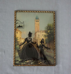 Vintage Silhouette Reverse Painted Picture Convex Domed Glass