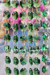 Green - Lead Glass Crystal - Octagon Chandelier - Prisms Chains