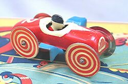 Vintage Wind Up Over The Hill -- Car And Track -- With Box -- Made In Japan