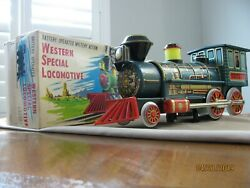 Vintage tin toy B/opMYSTERY ACTION WESTERN SPECIAL LOCOMOTIVE with WHISTLE