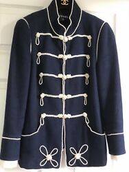 CHANEL 09P NEW PIECE OF ART Navy PEARL JACKET PEARL CC buttons CUFFS FR42-FR40