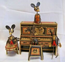 Vintage 1929 Wind Up Marx Toy-marx Merrymakers-mice On Piano-tin Wind Up Toy