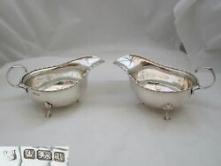Rare Pair Of Geo V Hm Sterling Silver Sauce Boats 1912