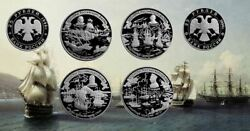 Russia 1996 25 Rubles 300th Anniversary Of Russian Navy 4 X 5 Oz Silver Coin Set
