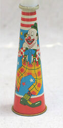 Vintage Lithographed Tin Horn Noise Maker With Clown And Dog, Japan