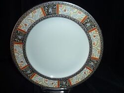 9 3/4 Raynaud Limoges France Dinner Plate Grey Yellow Red Abstract Panels