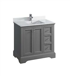 Fresca Windsor 36 Gray Textured Traditional Bathroom Cabinet W/ Top And Sink