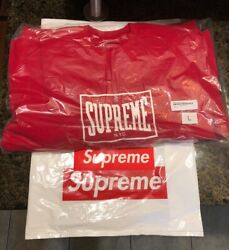 Supreme Warm Up Crewneck Large Red SS19 SS19SW79 New With Bag And Sticker