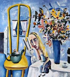 Charles Blackman And039alice On The Tableand039 Limited Edition Print Signed By The Artist