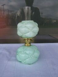 Quilted Phlox Miniature Lamp By Consolidated Or Northwood Unusual Color- Green