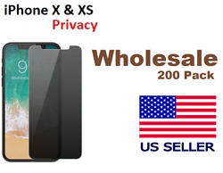 [200 Pack ] iPhone 10 X & XS Privacy Tempered Glass Anti Spy Screen Protector
