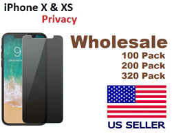 For iPhone 10 X & XS Privacy Tempered Glass Anti Spy Screen Protector lot
