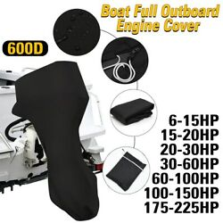 6-225hp Boat Full Motor Cover Outboard Engine Protector Black Waterproof Cover