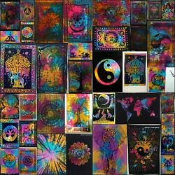 Poster Small Multi Color Tapestry Cotton Textile Bohemian Wall Hanging Indian
