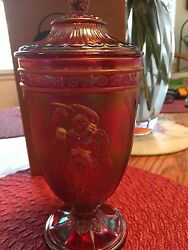 Gorgeous Fenton Carnival Glass Large Candy Dish Ruby Red New In Original Box