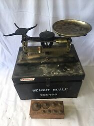 Antique The Torsion Balance 3525 4 1/2 Brass Scale Weights In Wooden Case
