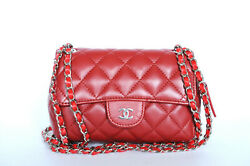 Chanel Classic Flap Mini Quilted Mirror Red Lambskin Leather Cross Body Bag