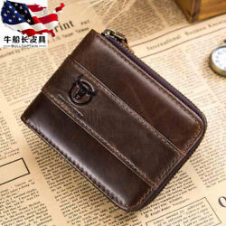 RFID BULLCAPTAIN Men's Real Genuine Leather Zipper Around Card Slots Coin Wallet