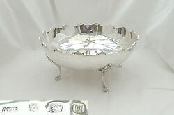 Rare George V Hm Sterling Silver 4 Footed Fruit Bowl 1915
