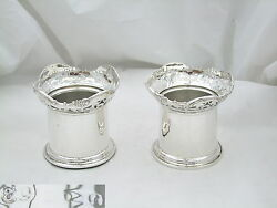 Rare Pair Of Edwardian Hm Sterling Silver Perfume Bottle Holders 1903