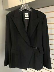 Hermes Authentic Blazer Jacket Black Wool Long Sleeve 44 Very Good Condition.