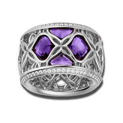 Brand New Authentic Chopard Imperiale Lace Amethysts Ring 18K Gold Size 7.5