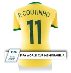 Philippe Coutinho Official Fifa World Cup Signed Retro Brazil Shirt With Fan Sty