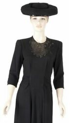 40s Black Dress With See-through Beaded Detail Around The Neckline