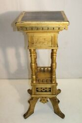 Gold Leaf Antique 19th Century Arts And Crafts Pedestal/plant Stand