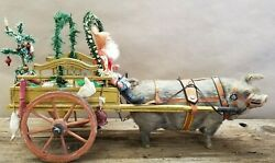 Exceptional Vintage 1900's Santa on Canopy Sleigh with Pig 24
