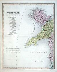 North Wales, Two Hand Coloured Antique County Railway Maps , British Atlas 1877