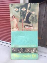 Rare Vintage Horror Movie Drive-in Poster Sign Dracula The Thing Couldnand039t Die