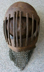 Medieval Heavy Iron Helmet with Chain Mail SCA