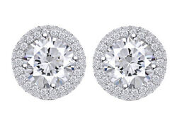 1.29 Ct Good Round Earth Mined Diamonds 18k Prong Halo Earrings
