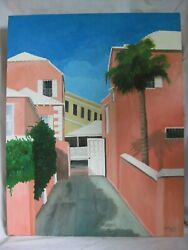 Original Oil Painting Bermuda Private Entry Building Caribbean 28 Schuck And03999