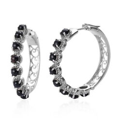 Hoops Hoop Earrings Round Black Onyx Gift Jewelry for Women Ct 4.86