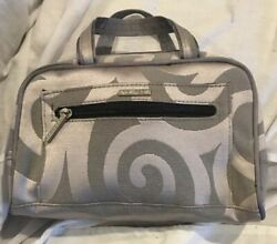 Modella Cosmetic Makeup Travel Bag Gray w Silver Swirls *EXCELLENT Condition $9.58