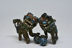 Antique Chinese Filigree Foo Dog Figurines - 1.5 Inches Tall - 🐘