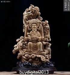 56 CM Indonesia Agarwood Ruyi god of wealth Mammon fortune dragon throne Statue