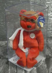 Ty Beanie Babies 100 Years Of Flight Bearon Red Bear Pbbags Sealed Perspex Case