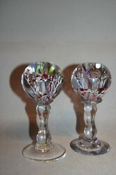 A Very Unusual Pair Of C19th Glass Stands With Multi Coloured Ball Finials