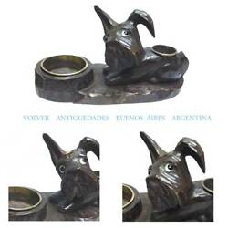 Lovely old Scottie Terrier dog carved wooden figure ashtray tobacco match holder