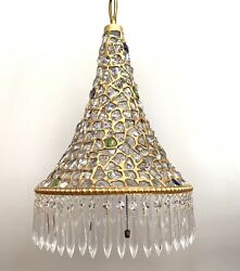 Gilded Chunk Glass Jeweled Shade Chandelier Lamp Persian Moroccan